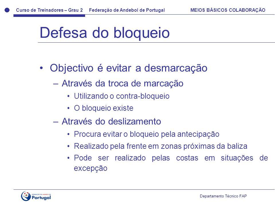 Curso de Treinadores – Grau 2 Federação de Andebol de Portugal MEIOS BÁSICOS COLABORAÇÃO Departamento Técnico FAP Objectivo é evitar a desmarcação –At