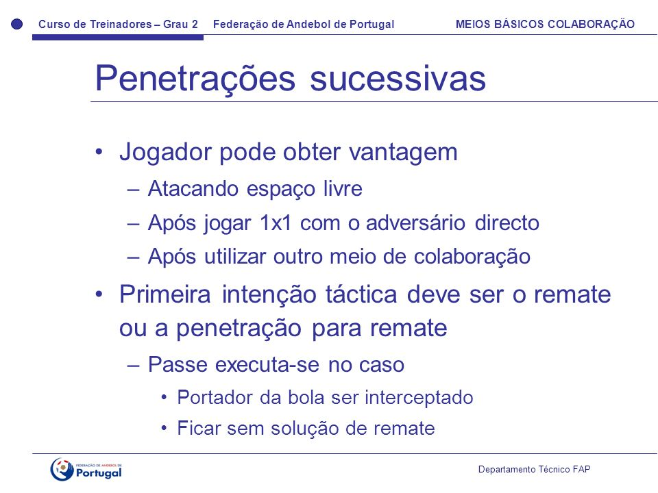 Curso de Treinadores – Grau 2 Federação de Andebol de Portugal MEIOS BÁSICOS COLABORAÇÃO Departamento Técnico FAP Jogador pode obter vantagem –Atacand