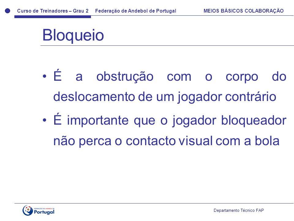 Curso de Treinadores – Grau 2 Federação de Andebol de Portugal MEIOS BÁSICOS COLABORAÇÃO Departamento Técnico FAP É a obstrução com o corpo do desloca