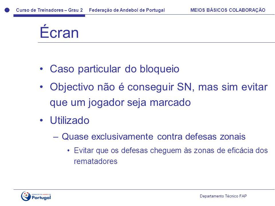 Curso de Treinadores – Grau 2 Federação de Andebol de Portugal MEIOS BÁSICOS COLABORAÇÃO Departamento Técnico FAP Caso particular do bloqueio Objectiv