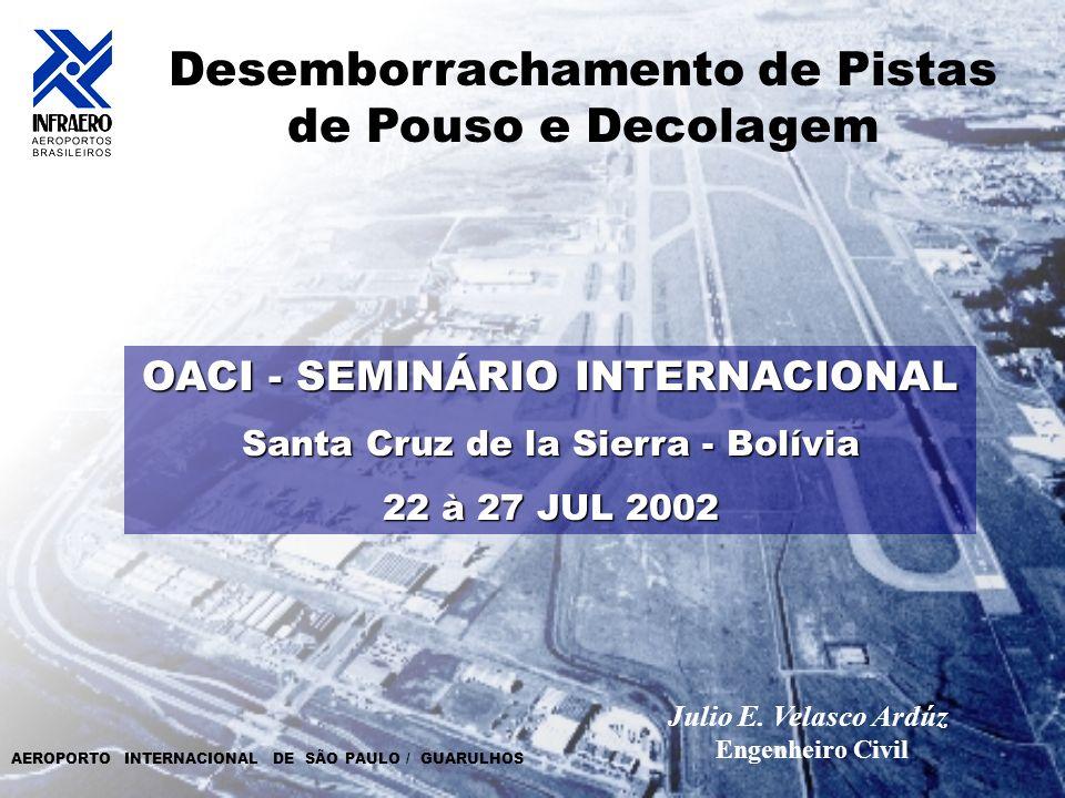 Julio E. Velasco Ardúz Desemborrachamento de Pistas de Pouso e Decolagem OACI - SEMINÁRIO INTERNACIONAL Santa Cruz de la Sierra - Bolívia 22 à 27 JUL