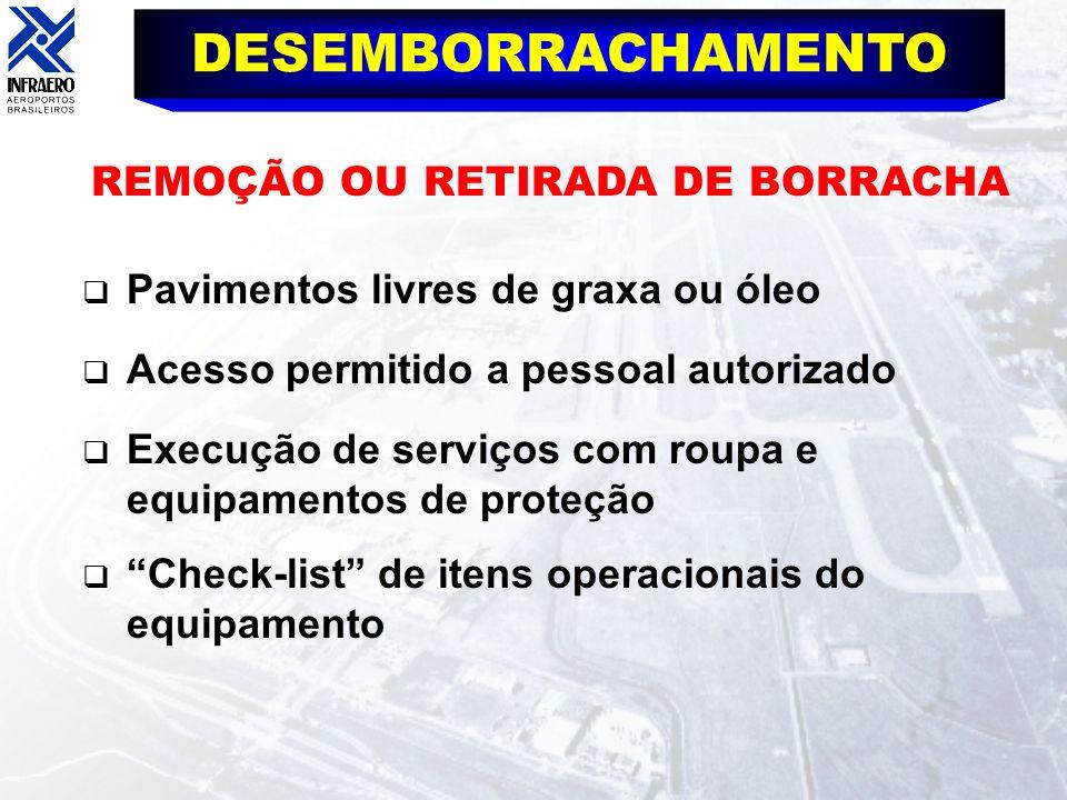 DESEMBORRACHAMENTO REMOÇÃO OU RETIRADA DE BORRACHA Pavimentos livres de graxa ou óleo Acesso permitido a pessoal autorizado Execução de serviços com r
