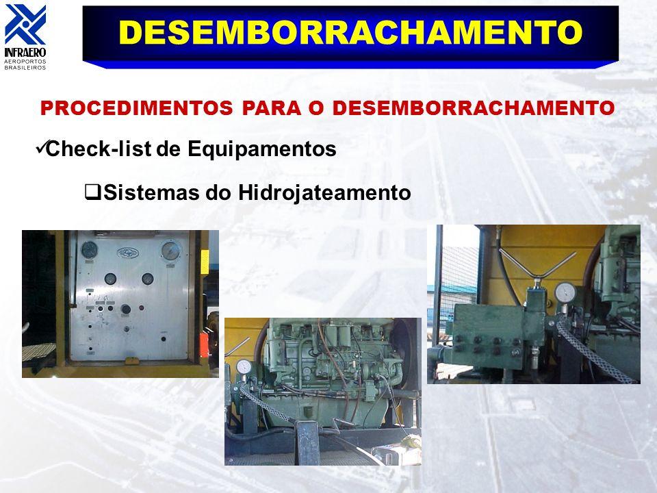DESEMBORRACHAMENTO PROCEDIMENTOS PARA O DESEMBORRACHAMENTO Check-list de Equipamentos Sistemas do Hidrojateamento