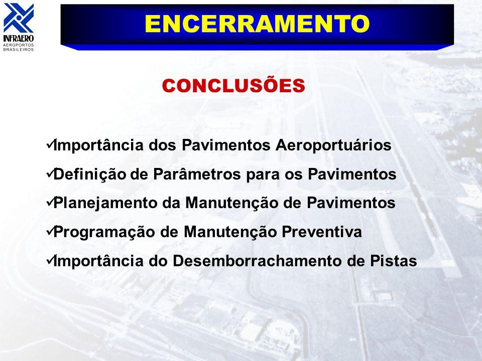 ENCERRAMENTO CONCLUSÕES Importância dos Pavimentos Aeroportuários Definição de Parâmetros para os Pavimentos Planejamento da Manutenção de Pavimentos