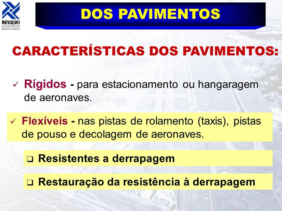 CARACTERÍSTICAS DOS PAVIMENTOS: DOS PAVIMENTOS Rígidos - para estacionamento ou hangaragem de aeronaves. Flexíveis - nas pistas de rolamento (taxis),