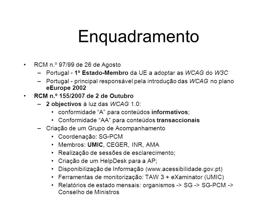 Enquadramento RCM n.º 97/99 de 26 de Agosto –Portugal - 1º Estado-Membro da UE a adoptar as WCAG do W3C –Portugal - principal responsável pela introdu