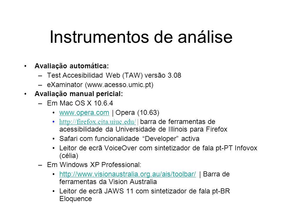 Instrumentos de análise Avaliação automática: –Test Accesibilidad Web (TAW) versão 3.08 –eXaminator (www.acesso.umic.pt) Avaliação manual pericial: –E