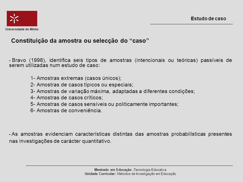 Bravo (1998), identifica seis tipos de amostras (intencionais ou teóricas) passíveis de serem utilizadas num estudo de caso: 1- Amostras extremas (cas