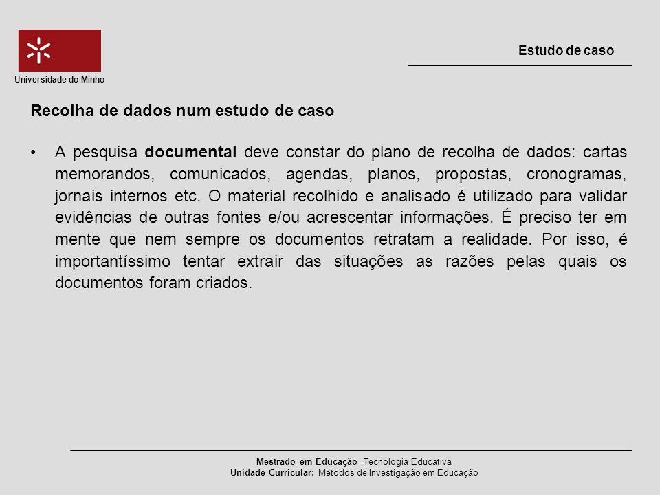 A pesquisa documental deve constar do plano de recolha de dados: cartas memorandos, comunicados, agendas, planos, propostas, cronogramas, jornais inte