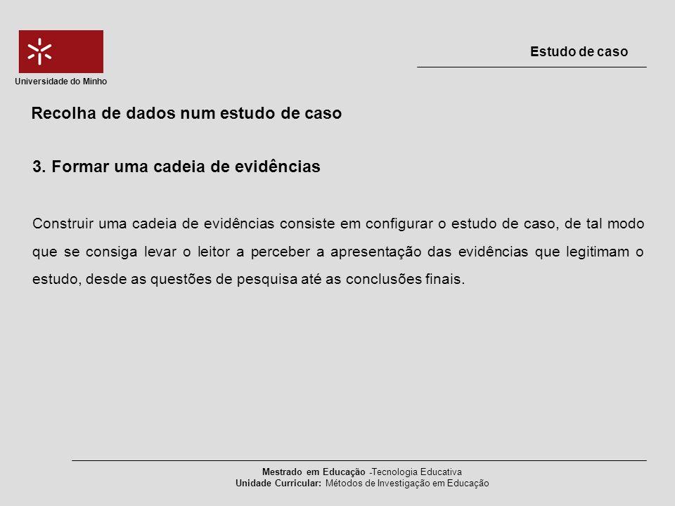 3. Formar uma cadeia de evidências Construir uma cadeia de evidências consiste em configurar o estudo de caso, de tal modo que se consiga levar o leit