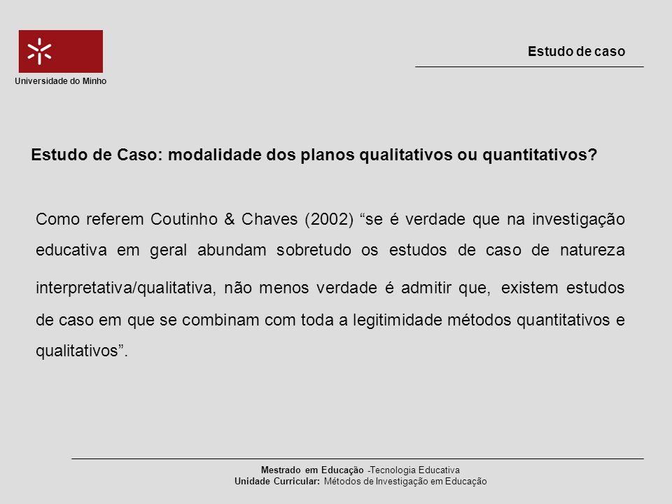 Estudo de Caso: modalidade dos planos qualitativos ou quantitativos? Mestrado em Educação -Tecnologia Educativa Unidade Curricular: Métodos de Investi