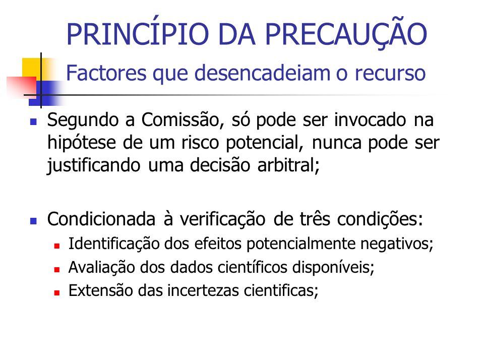 PRINCÍPIO DA PRECAUÇÃO Factores que desencadeiam o recurso Segundo a Comissão, só pode ser invocado na hipótese de um risco potencial, nunca pode ser