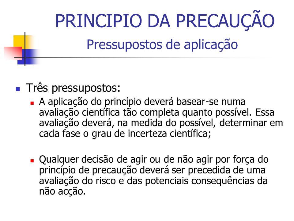 PRINCIPIO DA PRECAUÇÃO Pressupostos de aplicação Três pressupostos: A aplicação do princípio deverá basear-se numa avaliação científica tão completa q