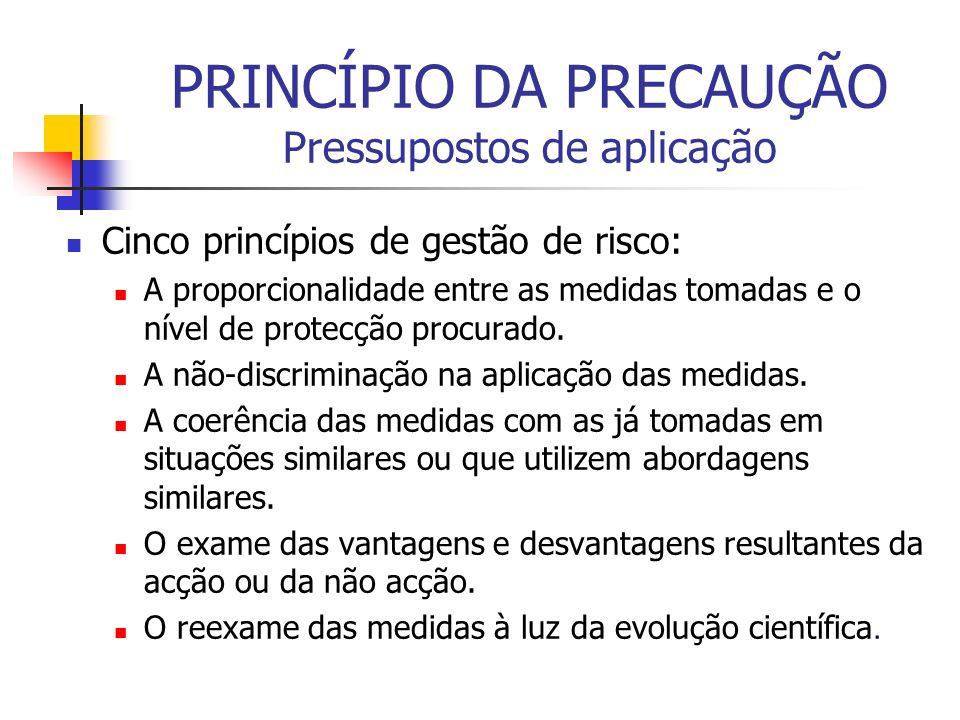 PRINCÍPIO DA PRECAUÇÃO Pressupostos de aplicação Cinco princípios de gestão de risco: A proporcionalidade entre as medidas tomadas e o nível de protec