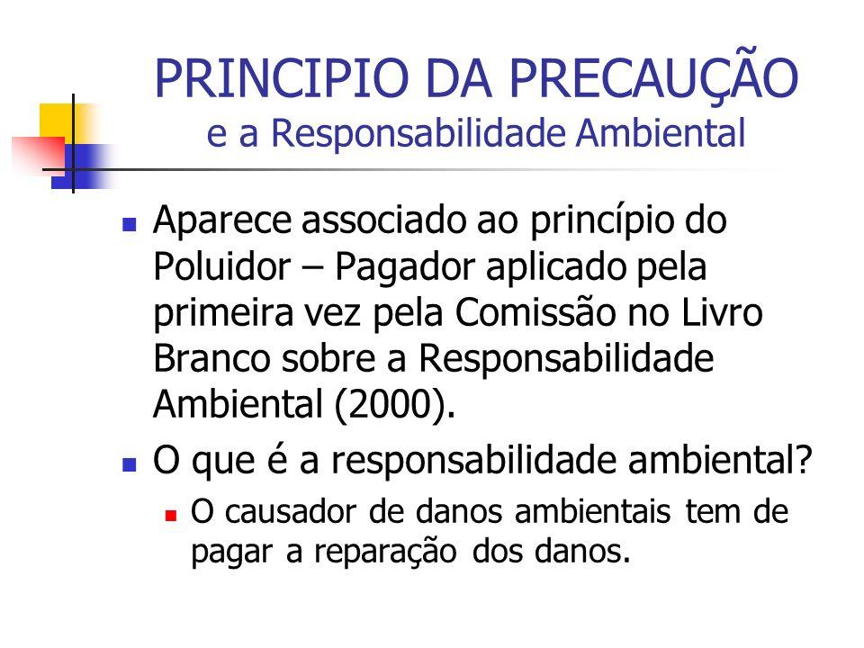 PRINCIPIO DA PRECAUÇÃO e a Responsabilidade Ambiental Aparece associado ao princípio do Poluidor – Pagador aplicado pela primeira vez pela Comissão no