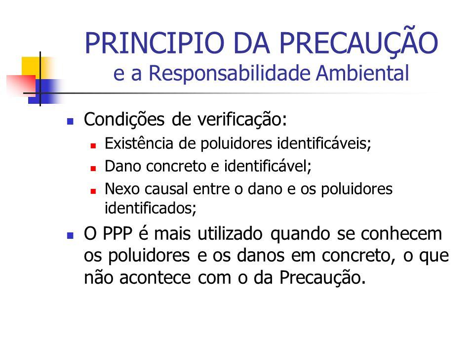 PRINCIPIO DA PRECAUÇÃO e a Responsabilidade Ambiental Condições de verificação: Existência de poluidores identificáveis; Dano concreto e identificável