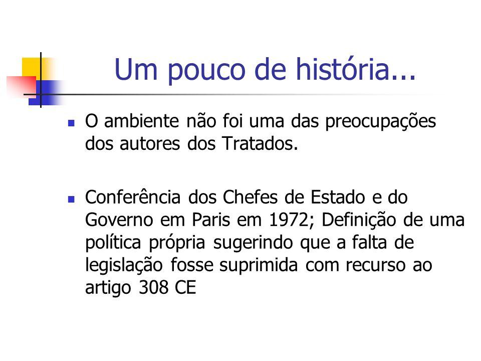 Um pouco de história... O ambiente não foi uma das preocupações dos autores dos Tratados. Conferência dos Chefes de Estado e do Governo em Paris em 19