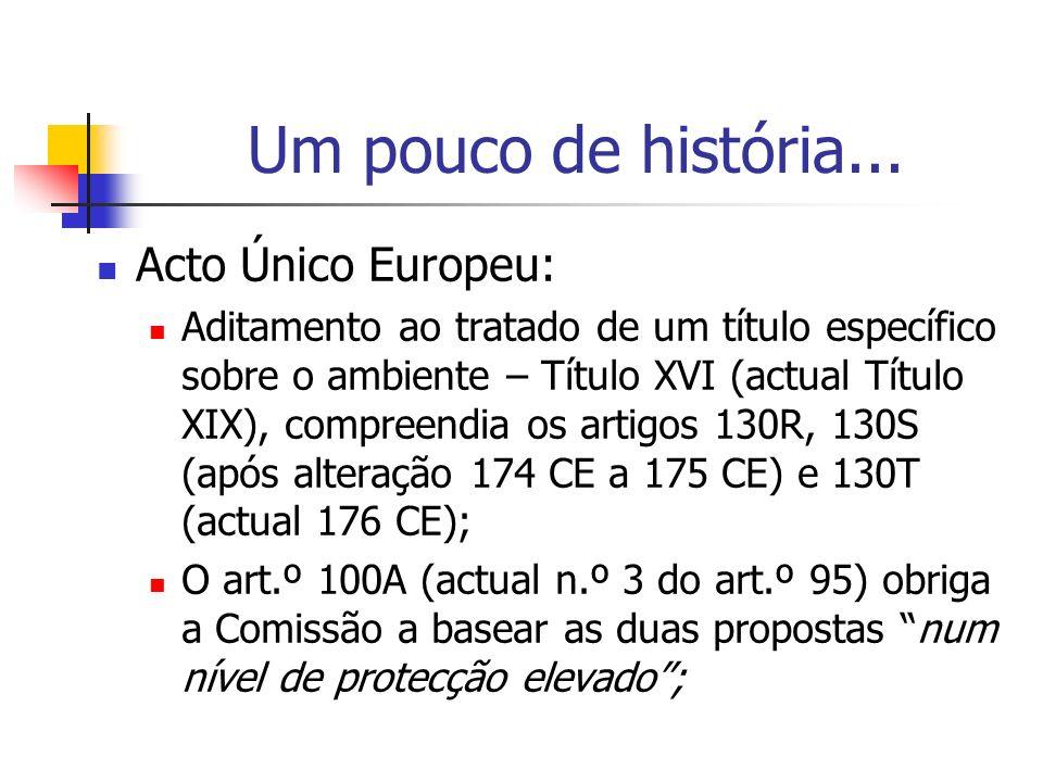 Um pouco de história... Acto Único Europeu: Aditamento ao tratado de um título específico sobre o ambiente – Título XVI (actual Título XIX), compreend