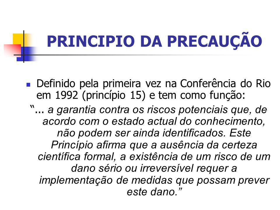 PRINCIPIO DA PRECAUÇÃO Definido pela primeira vez na Conferência do Rio em 1992 (princípio 15) e tem como função:... a garantia contra os riscos poten