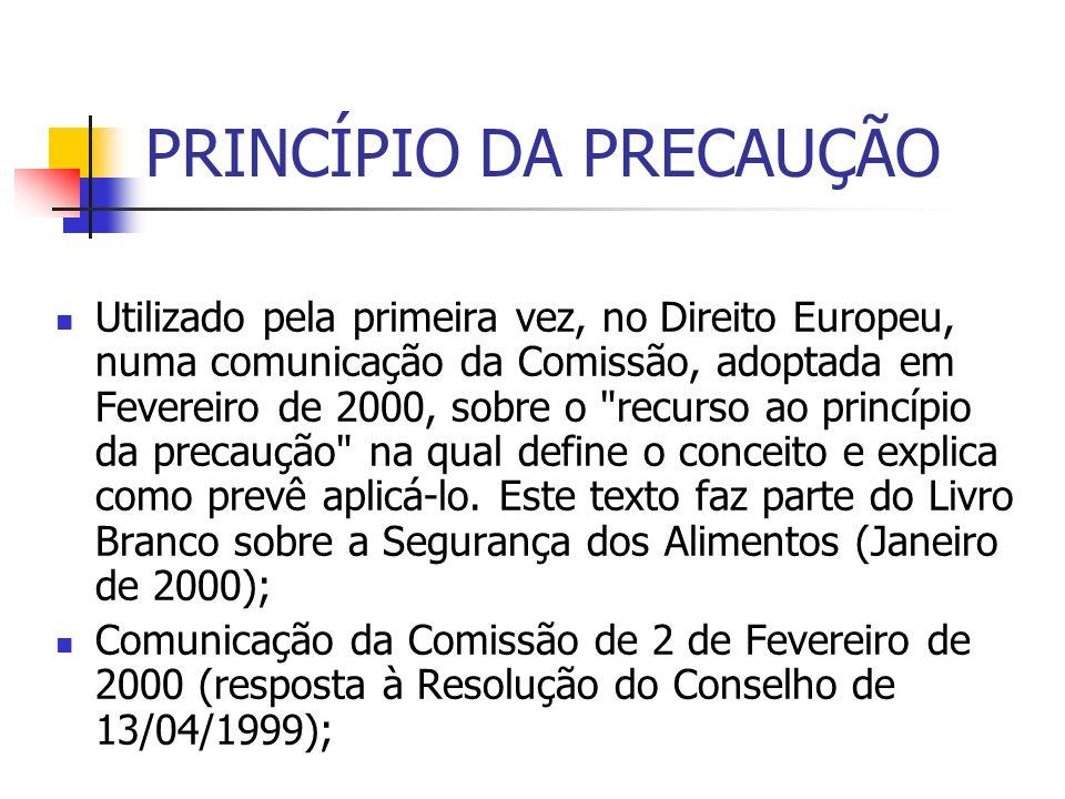 PRINCÍPIO DA PRECAUÇÃO Utilizado pela primeira vez, no Direito Europeu, numa comunicação da Comissão, adoptada em Fevereiro de 2000, sobre o
