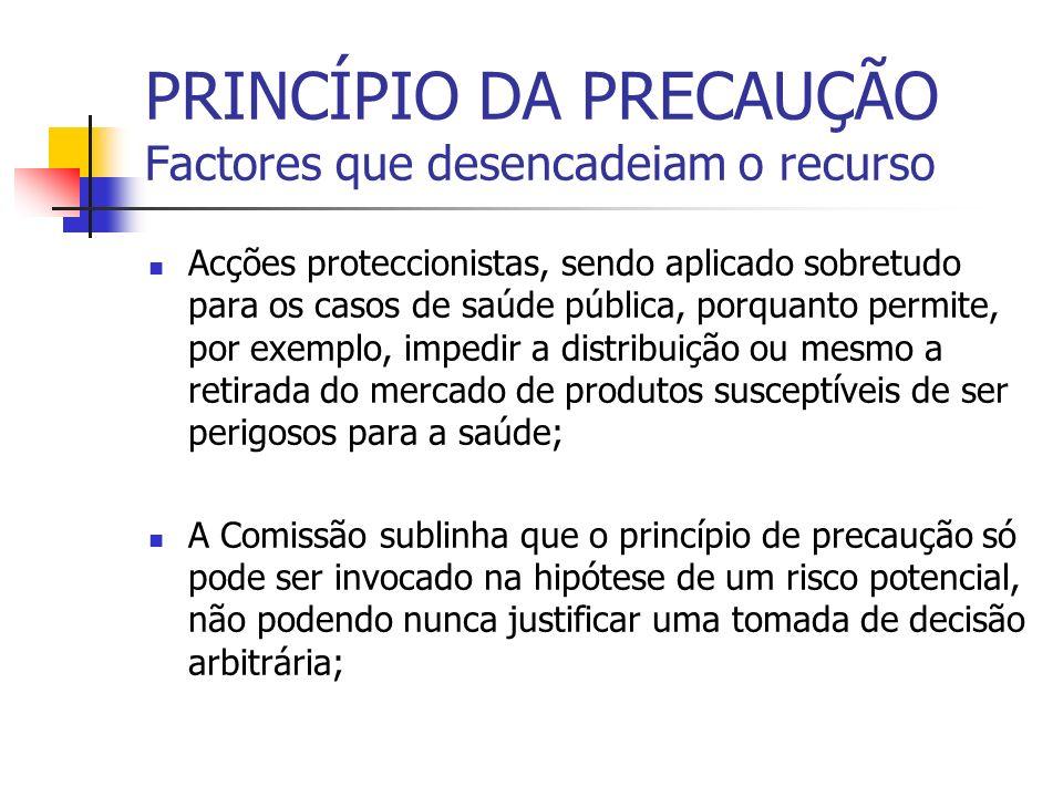 PRINCÍPIO DA PRECAUÇÃO Factores que desencadeiam o recurso Acções proteccionistas, sendo aplicado sobretudo para os casos de saúde pública, porquanto