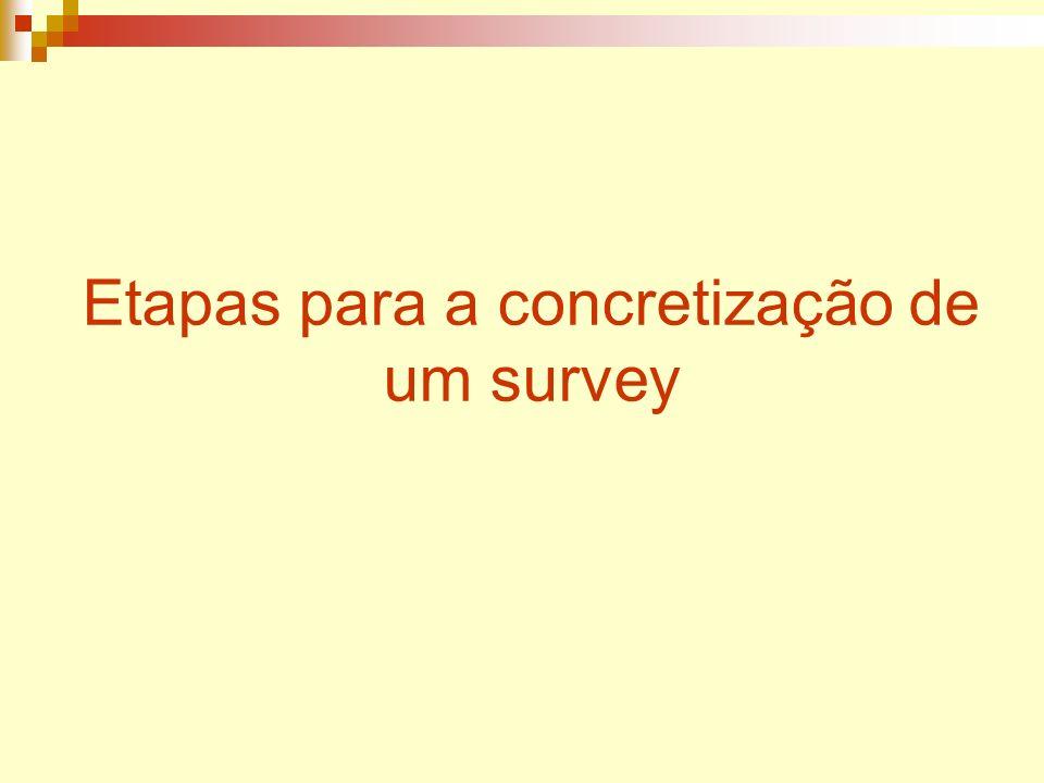 Etapas para a concretização de um survey