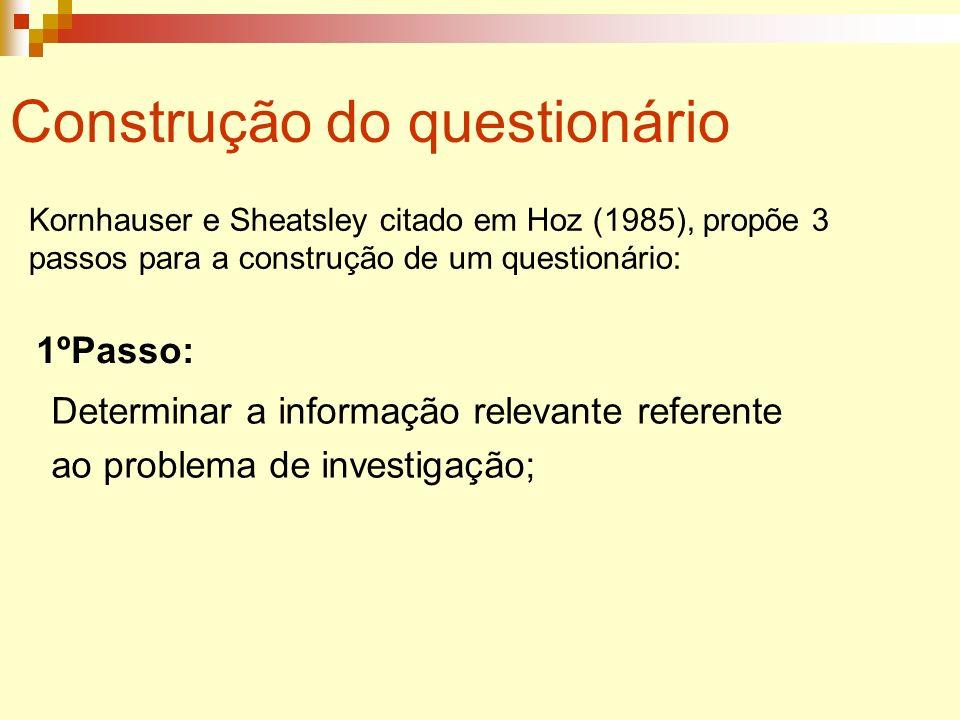 Construção do questionário Kornhauser e Sheatsley citado em Hoz (1985), propõe 3 passos para a construção de um questionário: 1ºPasso: Determinar a in