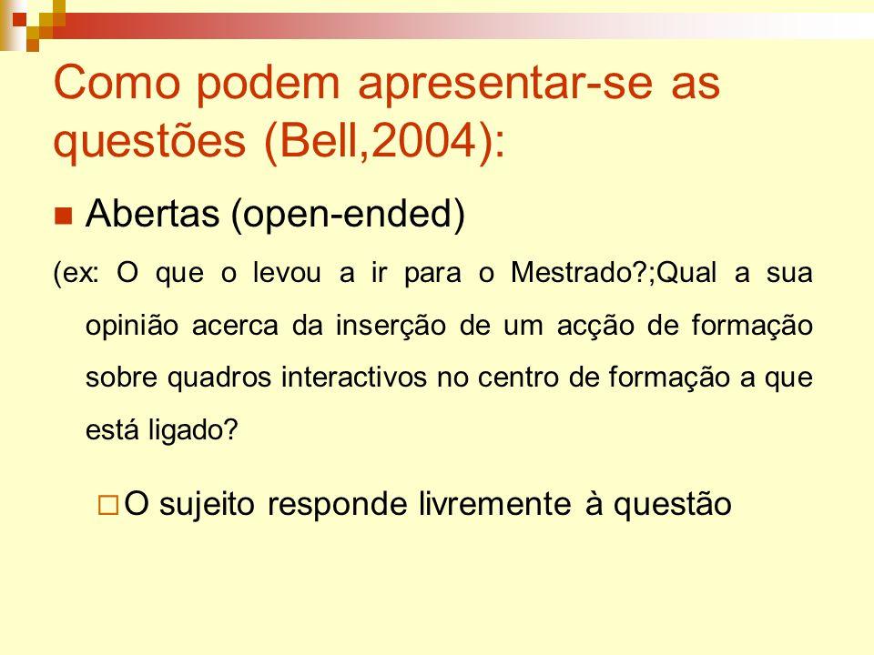 Como podem apresentar-se as questões (Bell,2004): Abertas (open-ended) (ex: O que o levou a ir para o Mestrado?;Qual a sua opinião acerca da inserção