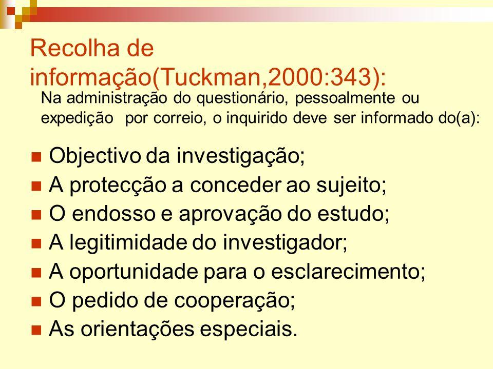 Recolha de informação(Tuckman,2000:343): Objectivo da investigação; A protecção a conceder ao sujeito; O endosso e aprovação do estudo; A legitimidade