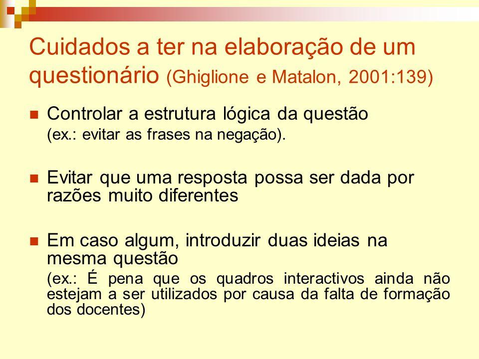 Cuidados a ter na elaboração de um questionário (Ghiglione e Matalon, 2001:139) Controlar a estrutura lógica da questão (ex.: evitar as frases na nega