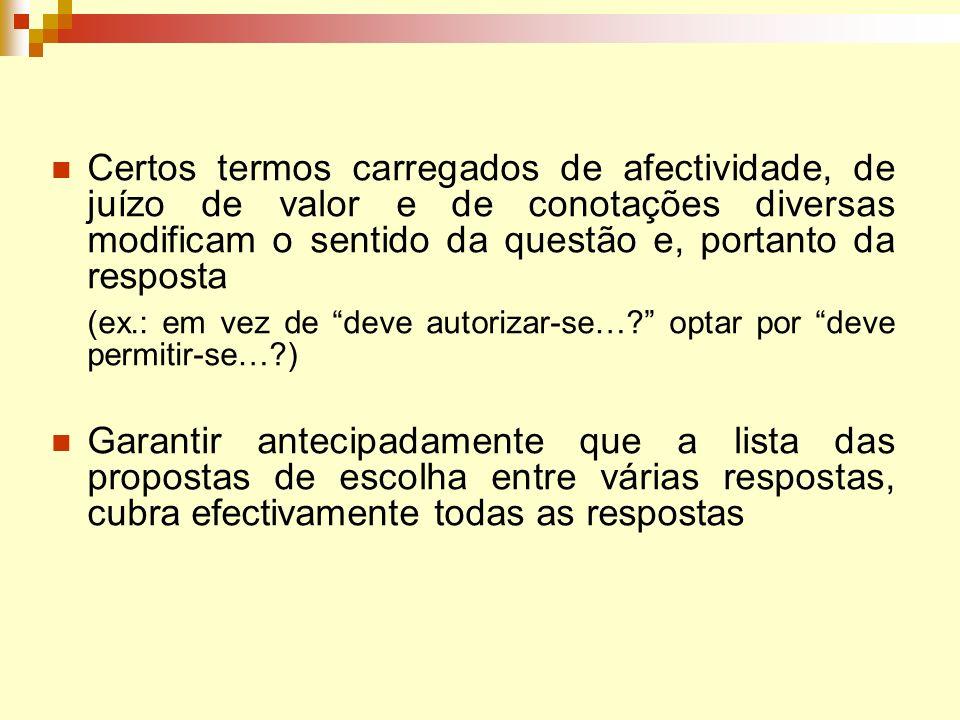 Certos termos carregados de afectividade, de juízo de valor e de conotações diversas modificam o sentido da questão e, portanto da resposta (ex.: em v