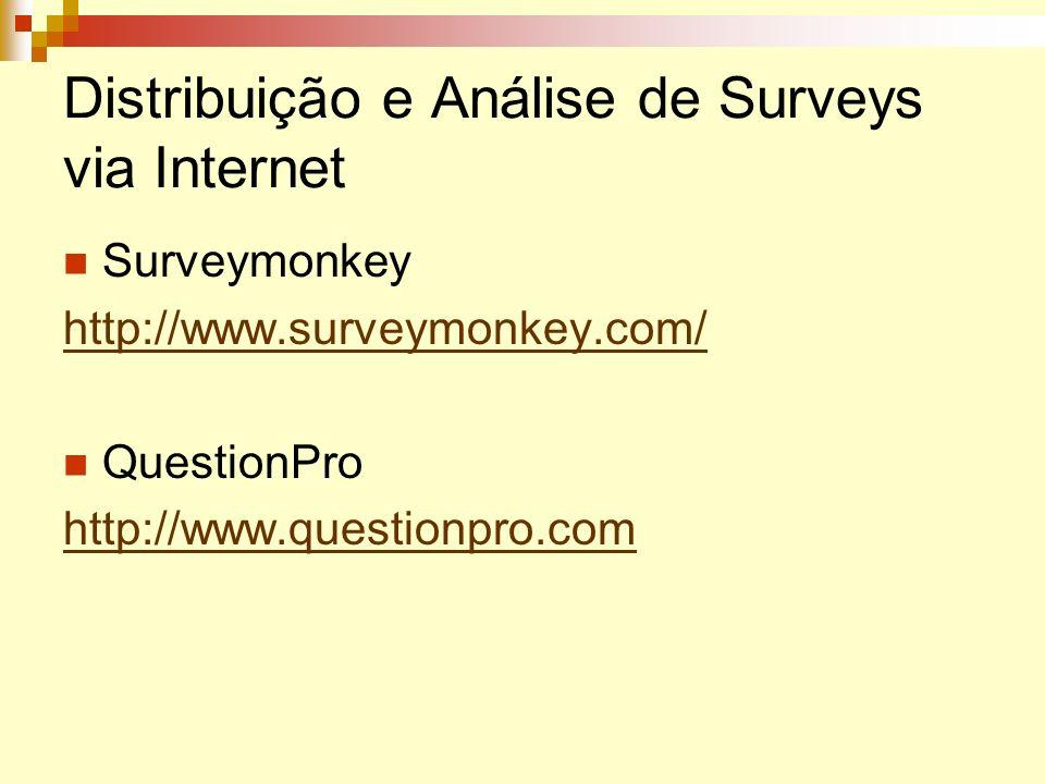 Distribuição e Análise de Surveys via Internet Surveymonkey http://www.surveymonkey.com/ QuestionPro http://www.questionpro.com