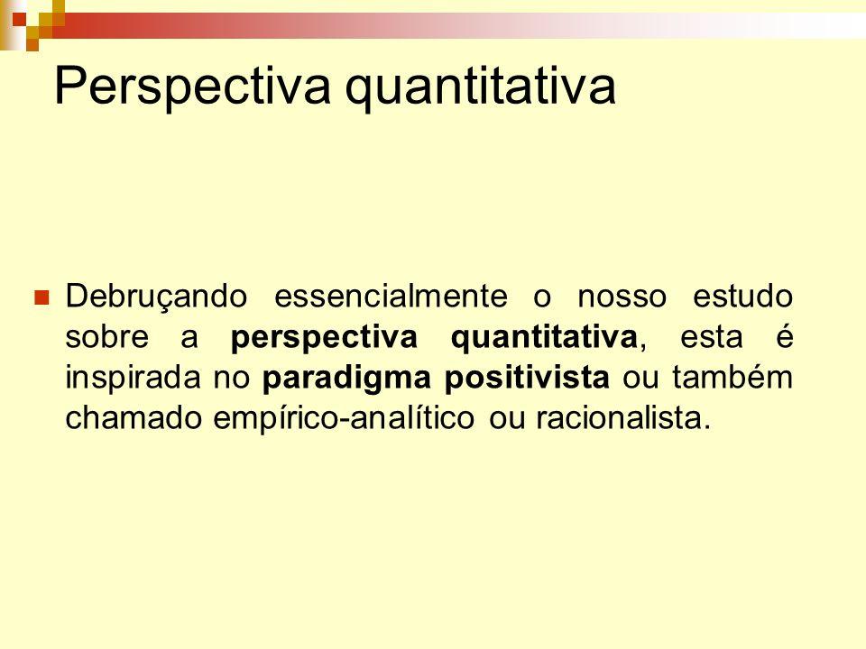 Perspectiva quantitativa Debruçando essencialmente o nosso estudo sobre a perspectiva quantitativa, esta é inspirada no paradigma positivista ou també