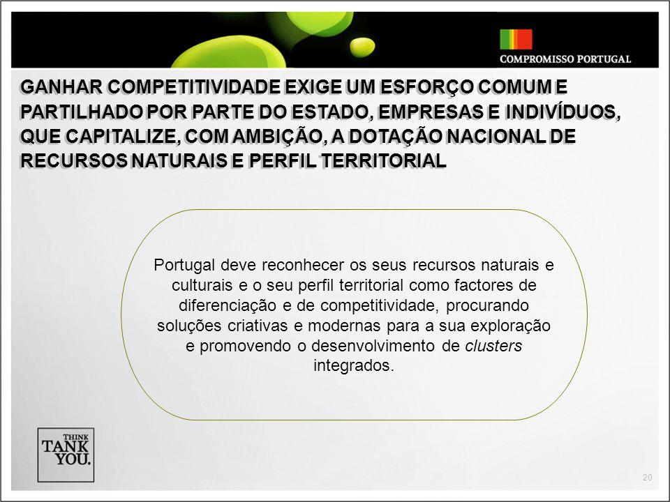 20 Portugal deve reconhecer os seus recursos naturais e culturais e o seu perfil territorial como factores de diferenciação e de competitividade, proc