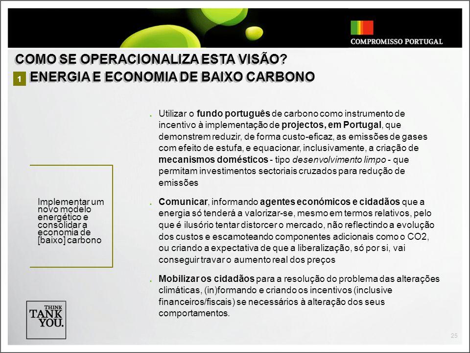 25 Utilizar o fundo português de carbono como instrumento de incentivo à implementação de projectos, em Portugal, que demonstrem reduzir, de forma cus