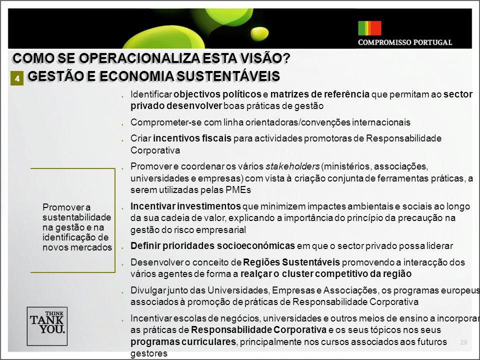 28 Identificar objectivos políticos e matrizes de referência que permitam ao sector privado desenvolver boas práticas de gestão Comprometer-se com lin