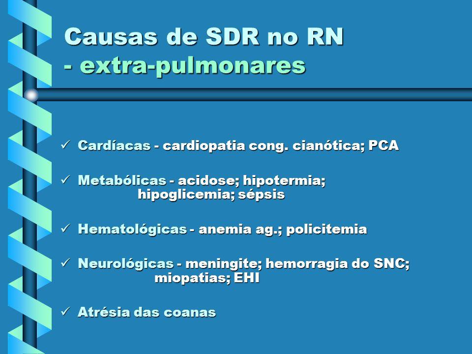 Causas de SDR no RN - extra-pulmonares Cardíacas - cardiopatia cong. cianótica; PCA Cardíacas - cardiopatia cong. cianótica; PCA Metabólicas - acidose
