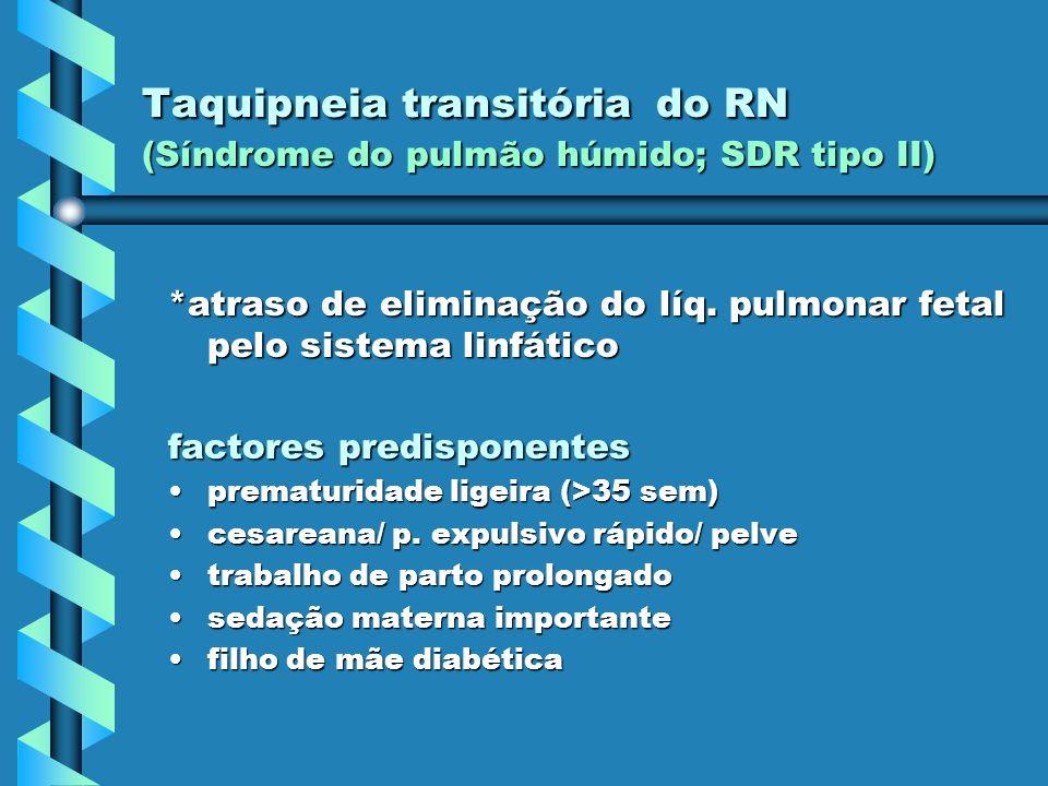 Taquipneia transitória do RN (Síndrome do pulmão húmido; SDR tipo II) *atraso de eliminação do líq. pulmonar fetal pelo sistema linfático factores pre