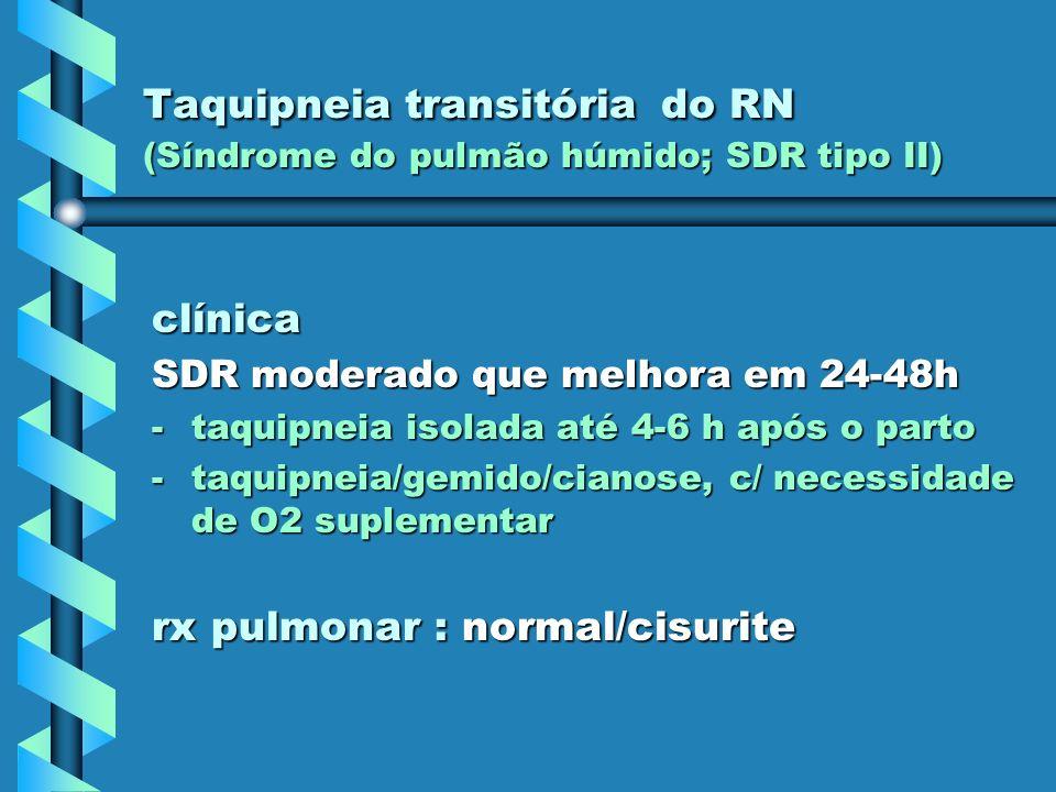 Taquipneia transitória do RN (Síndrome do pulmão húmido; SDR tipo II) clínica SDR moderado que melhora em 24-48h -taquipneia isolada até 4-6 h após o
