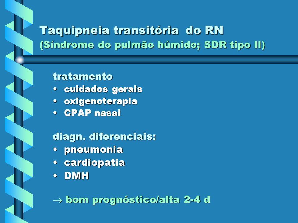 Taquipneia transitória do RN (Síndrome do pulmão húmido; SDR tipo II) tratamento cuidados geraiscuidados gerais oxigenoterapiaoxigenoterapia CPAP nasa