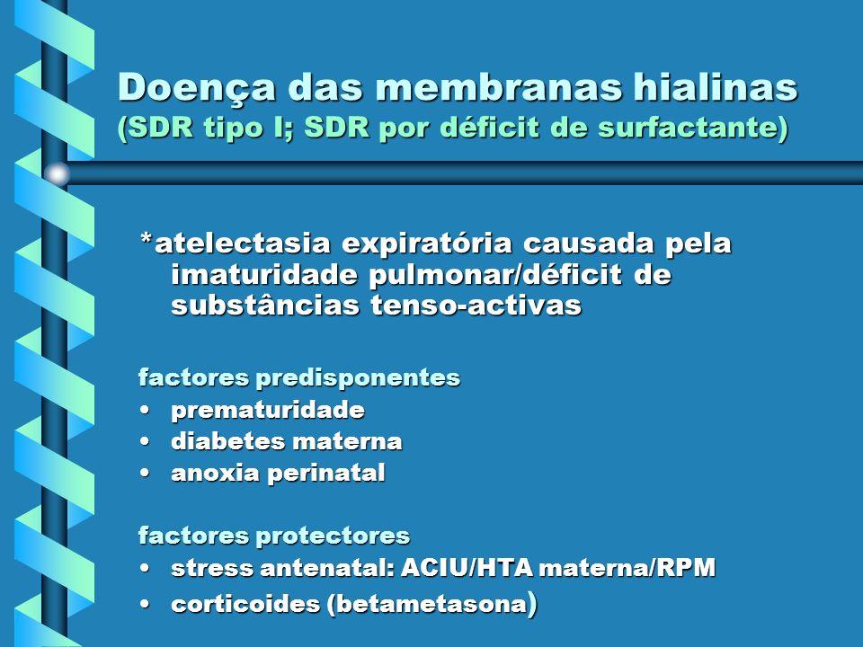 *atelectasia expiratória causada pela imaturidade pulmonar/déficit de substâncias tenso-activas factores predisponentes prematuridadeprematuridade dia