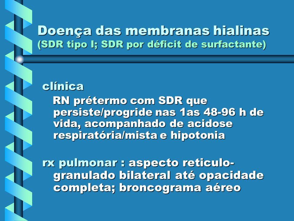 clínica RN prétermo com SDR que persiste/progride nas 1as 48-96 h de vida, acompanhado de acidose respiratória/mista e hipotonia RN prétermo com SDR q