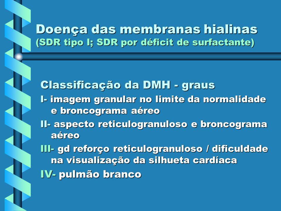 Doença das membranas hialinas (SDR tipo I; SDR por déficit de surfactante) Classificação da DMH - graus I- imagem granular no limite da normalidade e