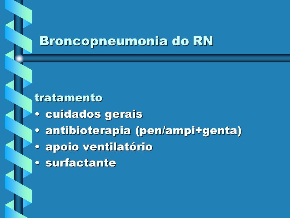 Broncopneumonia do RN tratamento cuidados geraiscuidados gerais antibioterapia (pen/ampi+genta)antibioterapia (pen/ampi+genta) apoio ventilatórioapoio