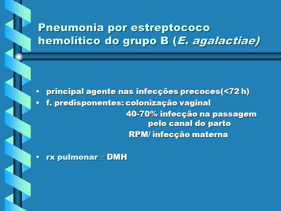 Pneumonia por estreptococo hemolítico do grupo B (E. agalactiae) principal agente nas infecções precoces(<72 h)principal agente nas infecções precoces