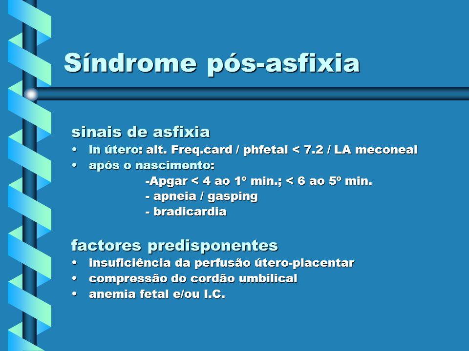 Síndrome pós-asfixia sinais de asfixia in útero: alt. Freq.card / phfetal < 7.2 / LA meconealin útero: alt. Freq.card / phfetal < 7.2 / LA meconeal ap
