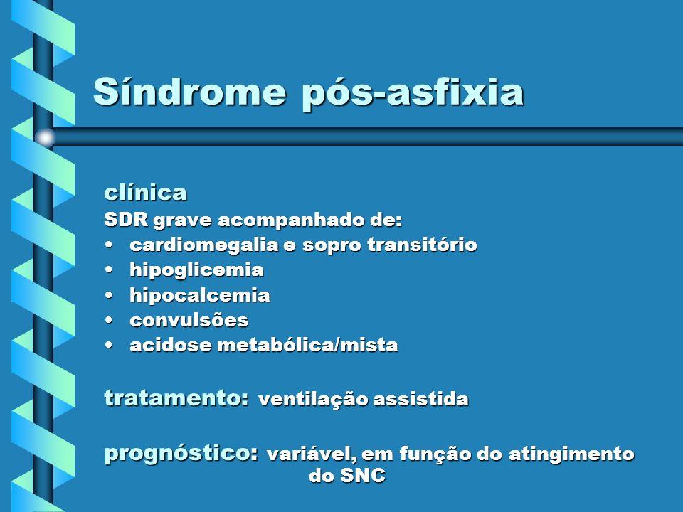 Síndrome pós-asfixia clínica SDR grave acompanhado de: cardiomegalia e sopro transitóriocardiomegalia e sopro transitório hipoglicemiahipoglicemia hip