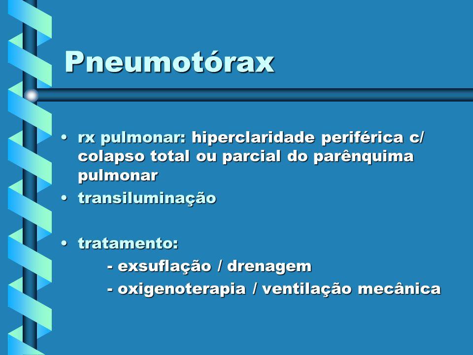Pneumotórax rx pulmonar: hiperclaridade periférica c/ colapso total ou parcial do parênquima pulmonarrx pulmonar: hiperclaridade periférica c/ colapso