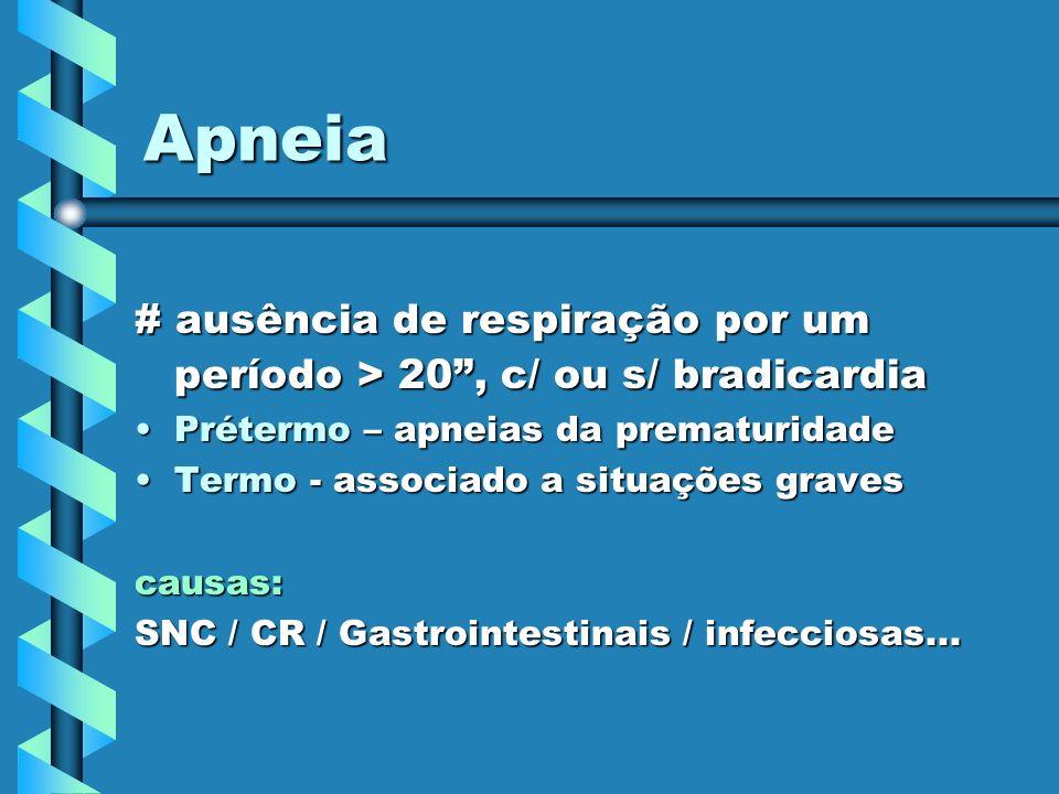 Apneia # ausência de respiração por um período > 20, c/ ou s/ bradicardia Prétermo – apneias da prematuridadePrétermo – apneias da prematuridade Termo
