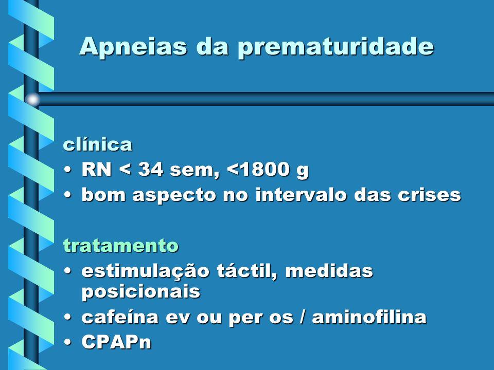 Apneias da prematuridade clínica RN < 34 sem, <1800 gRN < 34 sem, <1800 g bom aspecto no intervalo das crisesbom aspecto no intervalo das crisestratam